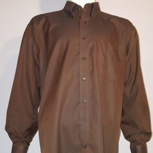 Jos A Bank Button Down Shirt XL Brown Gently used